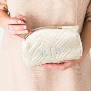 Toilettas quilted velvet  ivoor-beige gepersonaliseerd
