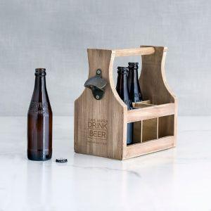 Houten bierkrat Drink Beer met naam