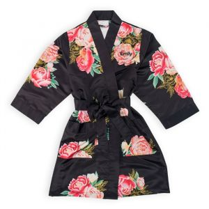 Kimono Blissful Blooms Black gepersonaliseerd