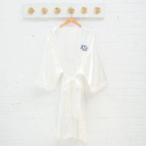 Satijnen kimono wit met naam