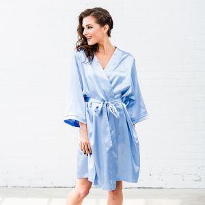 Satijnen kimono lichtblauw met naam
