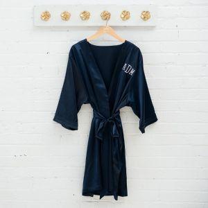 Satijnen kimono navy met naam