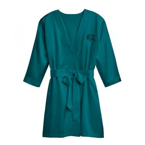 Satijnen kimono hunter green met naam