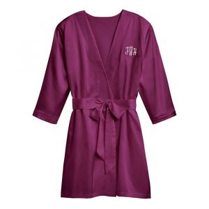 Satijnen kimono paars met naam