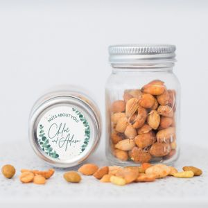Mini mason jar golden green nootjes etiket
