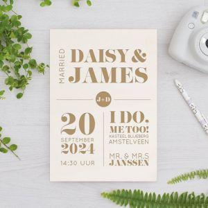 Houten huwelijksbordje modern paper