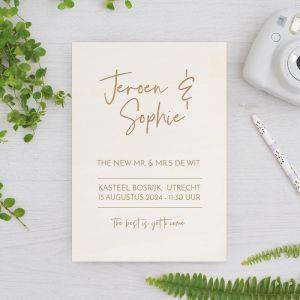 Houten huwelijksbordje modern met namen