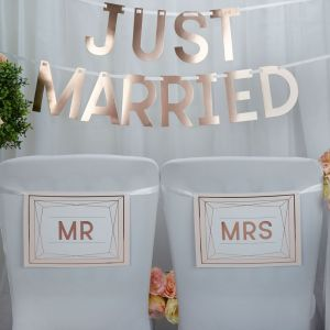 Mr & Mrs stoelbordjes Geo Blush