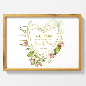 Poster welkom bruiloft geometric floral