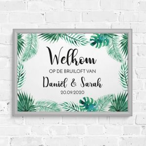 welkomst poster bruiloft tropische bladeren