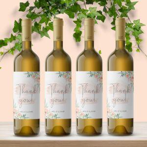 Wijnfles etiket bedankt botanical romance