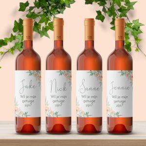 Wijnfles etiket getuige vragen botanical romance