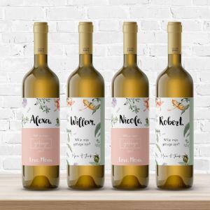 Wijnfleslabel getuige vragen love blooms