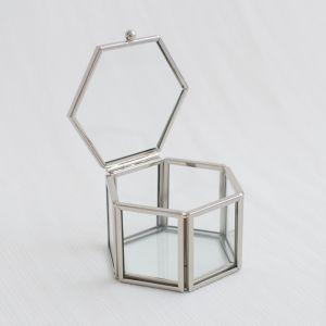 Glazen ringdoosje hexagon zilver (8x7x5cm) House of Gia