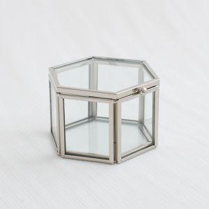 Glazen ringdoosje hexagon zilverkleurige randjes