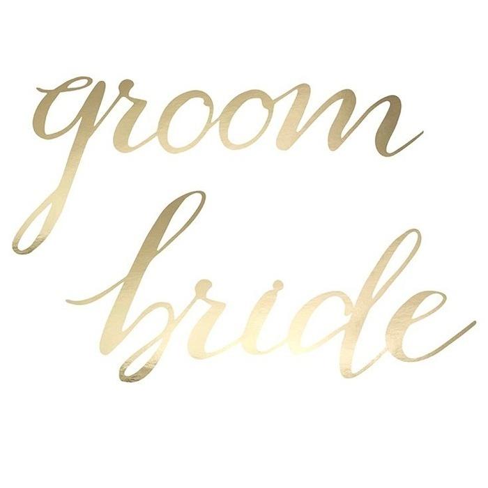 Stoelbordjes Groom en Bride goud Elegant Bliss