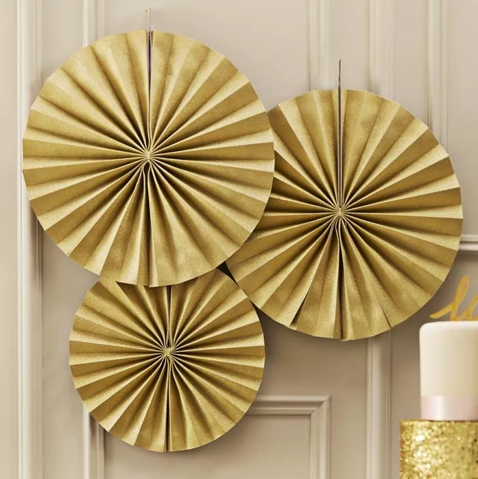 Pastel Perfection Paper Fans Goud