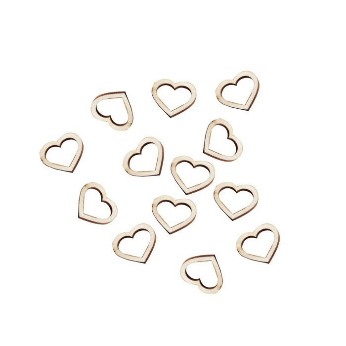 houten hartjes confetti