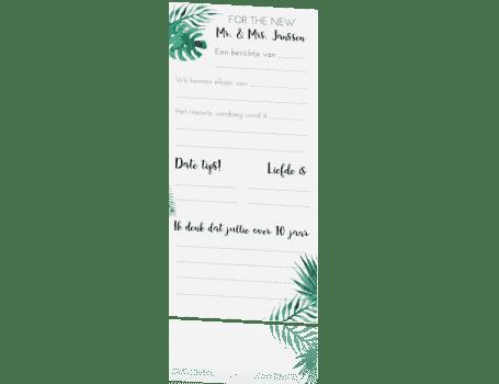 Gastenboek invulkaart Tropical Leaves