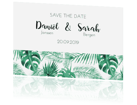 Save the date Tropical Leaves