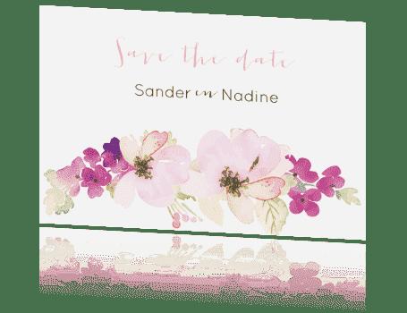 Save the Date kaart waterverf bloemen