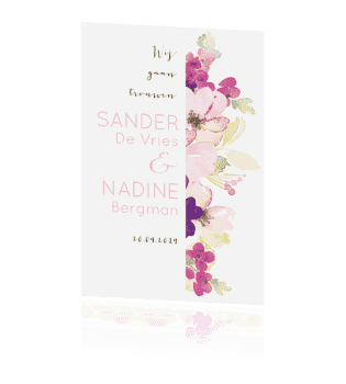 Trouwkaart waterverf bloemen