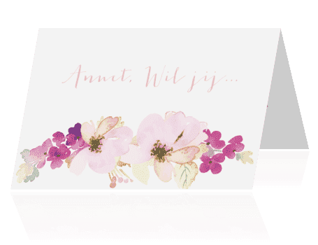 Wil je...? kaart waterverf bloemen