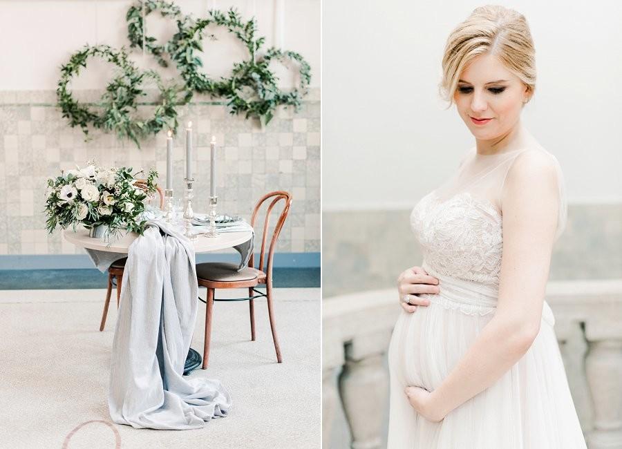 Inspiratie: marble, metallic & botanical bruiloft met een zwangere bruid