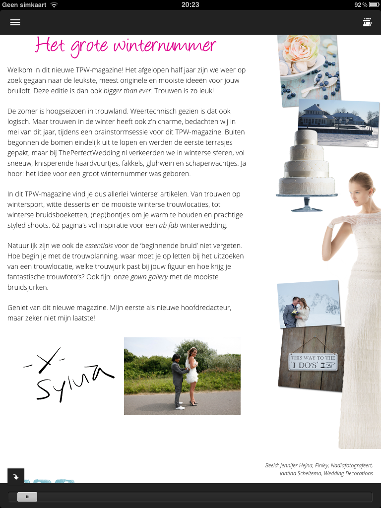 Weddingdeco.nl in The Perfect Wedding iPad magazine
