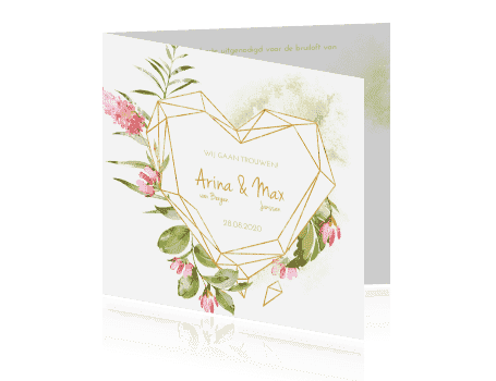 Trouwkaart Geometric floral