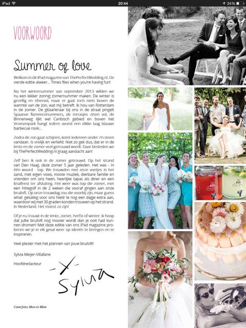 Weddingdeco.nl in The Perfect Wedding iPad magazine