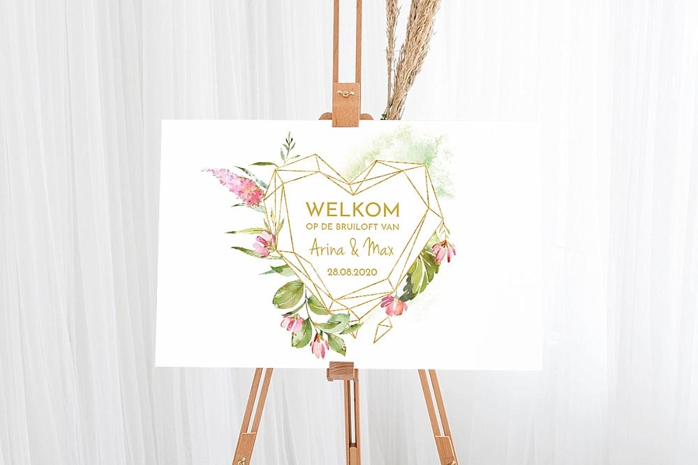 weddingdeco, trouwhuisstijl. geometric floral,, welkomstbord bruiloft