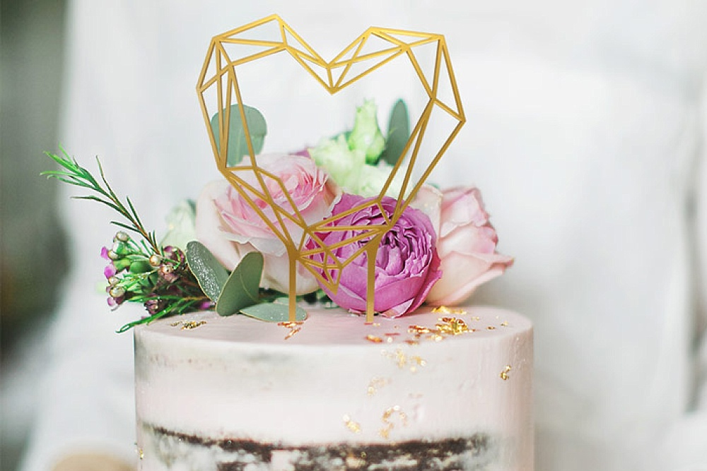 weddingdeco, taarttopper bruiloft, trouwhuisstijl geometric floral